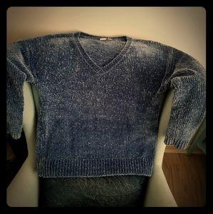 GAP Blue V-Neck Chenille Pullover, sz M